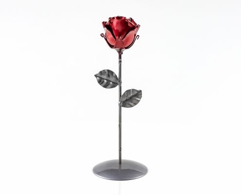 Handmade Wrought Iron Eternal Rose with base