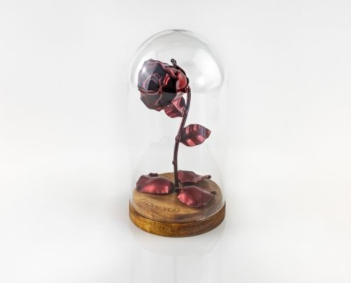 Eternal Rose Red of Wrought Iron with Custom Engraving Beauty and the Beast with fallen red petals and in glass dome on wooden base