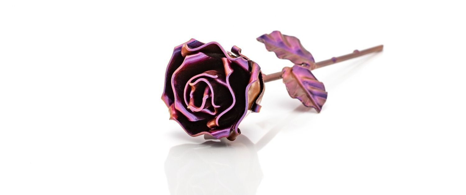 Customised Hand forged Wrought Iron Rose - Chameleon Cyan to Purple