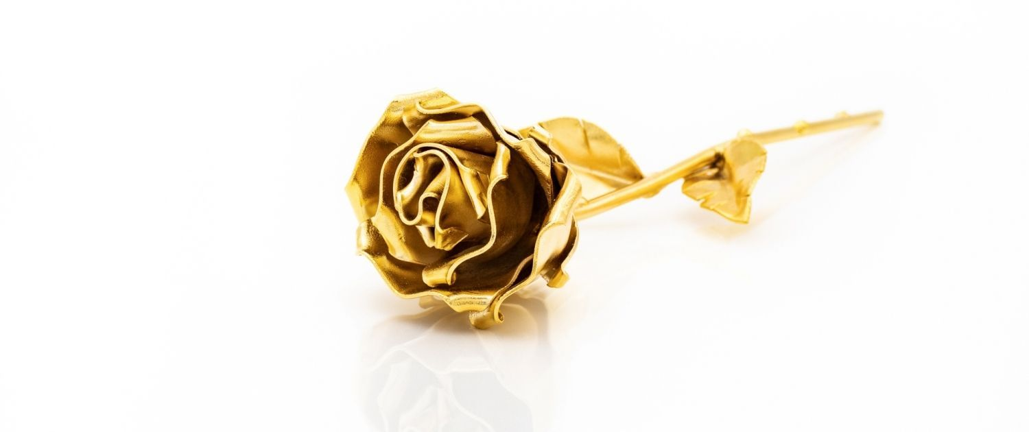Customised Hand forged Wrought Iron Rose - Gold Plated